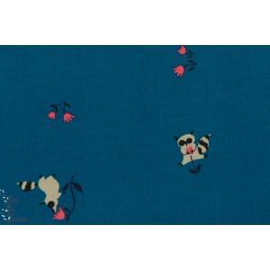 tissu coton Popeline Tanuki Blue maki lémurien fond bleu cotton steel