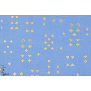 Tissu coton Popeline Follow Suit bleu métalique wonderland Cotton and Steel