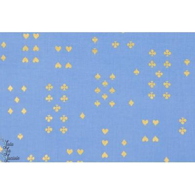 Tissu coton Popeline Follow Suit bleu métalique wonderland Cotton and Steel