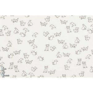 Jersey Blanc Motif Animaux Origami