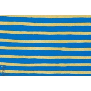 tissu coton Popeline Rayée Bleu et Or métallic cotton steel wonderland