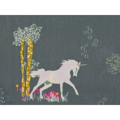 Voile Unicorn Fable Sageplant licorne batiste coton agf art gallery fabric
