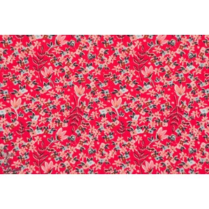tissu coton Popeline garden of Dream Rouge fleur liberty art gallery fabric