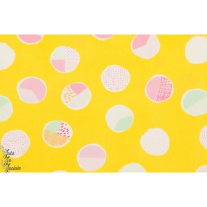 tissu coton Popeline Sweet Bubbles Sugar point jaune vif été art gallery graphic,agf