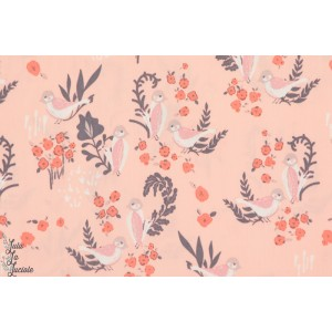 tissu coton Popeline Bio Feathered Fellow Blush organique oiseau rose art gallery fabric agf