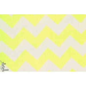 tissu coton popeline Riley Blake chevron jaune fluo