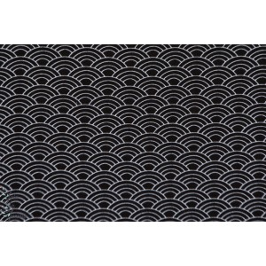 tissu coton jersey bio Stenzo Vagues noires wasabi géométrique graphique