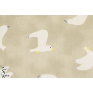 TISSU COTON kokka Double Gaze Seagulls fond marron sable
