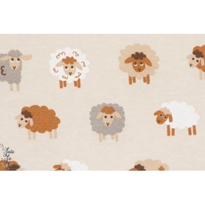 Coton épais décoration  TANGo : Moutons beige