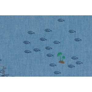 Popeline Marit, Denim, Fish, blue