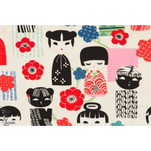 tissu coton Popeline Kiki Kokeshi bleu alexander Henry Indochine japon