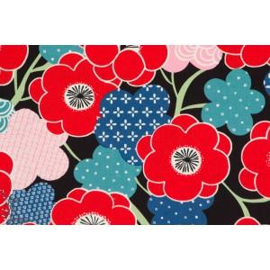 tissu coton Popeline KIKI UME BLEU indochine Alexander Henry fleur cerisier japon