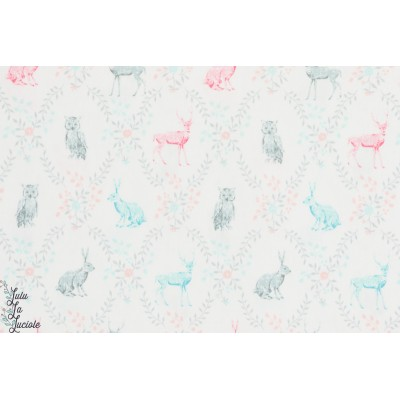 tissu coton Popeline Little Rabbits and owls lapin chouette pastel sevenberry enfant