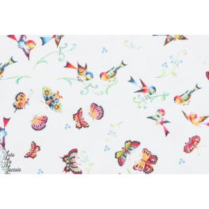 tissu coton papillon oiesau Popeline Dream - Happiness inkalily