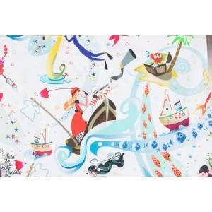 tissu coton Popeline EL FONFO DEL MAR - au fond de la mer - inkalily couture enfant