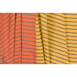 jersey Jacquard bio double face raye orange/marron jaune/marron