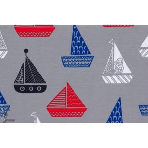 Jersey bateaux fond gris