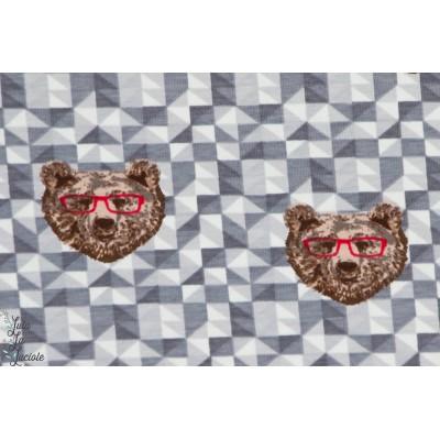 Jersey Bouncy Bear gris ours à lunettes géométrique gris