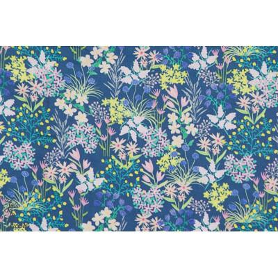 tissu coton Popeline fine floral Nerida Hansen liberty bleu
