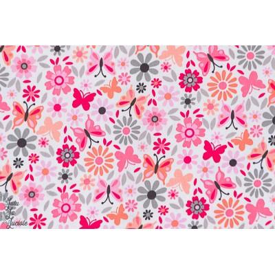 Popeline Little Dee Da rose fleur jardin papillon michael miller