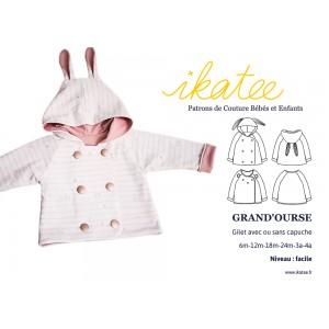 Patron couture gilet GRAND'OURSE 6m-4ans ikatee bébé