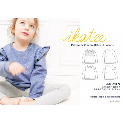 Patron sweat confort fille JASMIN couture enfant ikatee