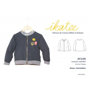 Patron couture JULES sweat Bomber 3-8 enfant ikatee