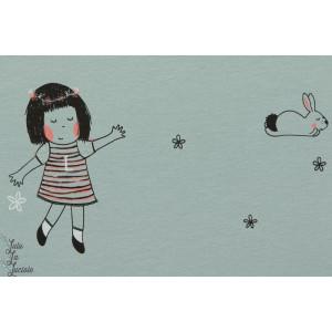 Jersey Bio Lotte et Elise-fillettes et lapin sur fond bleu étoilé-Design :kluntjebunt/B. Burnett pour Lillestoff