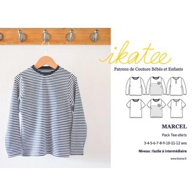 d078c09339b09 Patron couture pack Tee-shirt 3-12 MARCEL enfant ikatee