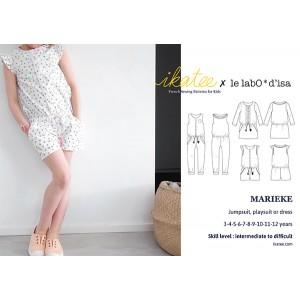Patron Trio Marieke robe blouse combinaison fille  3-12 ans Ikatee
