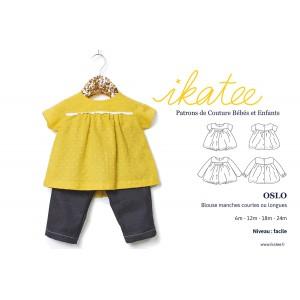 Patron duo Blouse&robe OSLO 6m -4a bébé enfant  fille ikatee