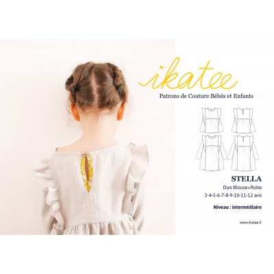 Patron enfant fille Duo blouse robe STELLA 3-12 ans Ikatee