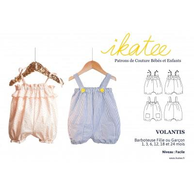 Patron couture enfant bébé barboteuse mixte VOLANTIS  1 à 24 mois Iaktee