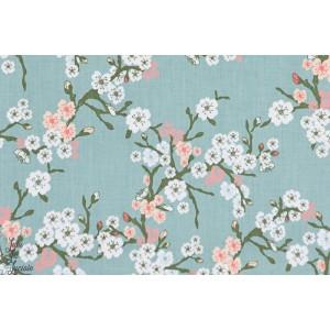 Popeline Cherryflower grise Panduro Design