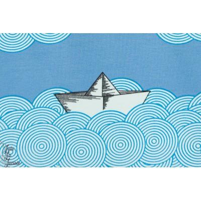 Jersey Bio Sea you soon, avion et bateau en papier, Design Deborah Hecht pour Lillestoff GOTS-certifié