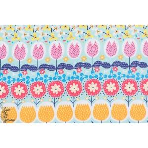 "Popeline ''Garden Stripe"" Hilco jardin géométrique fleur"