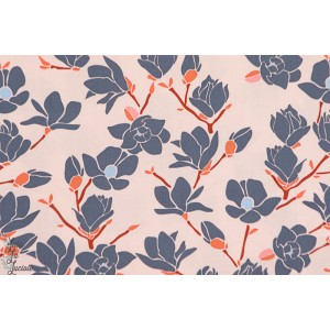 tissu coton Popeline AGF Magnolia sunset fond rose charleston art gallery fabrics