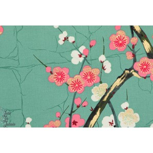 tissu coton Popeline Golden garden vert indochine alexander Henry