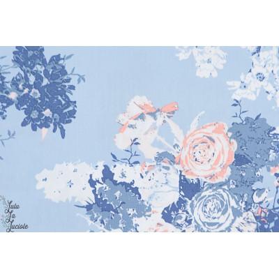 coton agf Popeline Bloesem Sweet rose art gallery fabric inblue