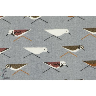 DOUBLE GAZE Oiseaux  Collection Charley Harper Maritime	 BIRCH Fabrics 100 % Coton Organique