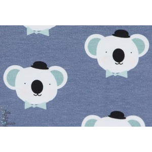 Jersey Imprimé Koala about blue fabric enfant bleu