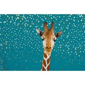 Panneau Jersey Girafe about bleu fabric enfant