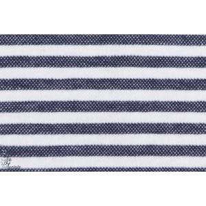 Interlock rayé Bleu chiné et blanc