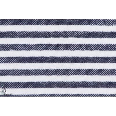 Interlock rayé Bleu chiné et blanc GOTS-certifié- Lillestoff