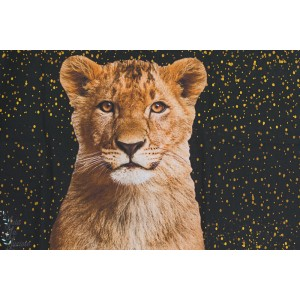 Panneau popeline coton Lion lionne enfant about blue fabric