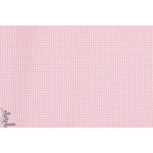 Popeline vichy  mini carreau 1mm rose pastel hilco