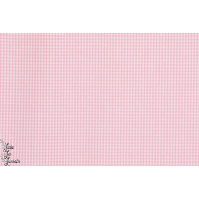 Popeline vichy  mini carreau 1mm rose pastel hilco