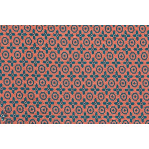 Jacquard true Love Corail/pétrole Lillestoff
