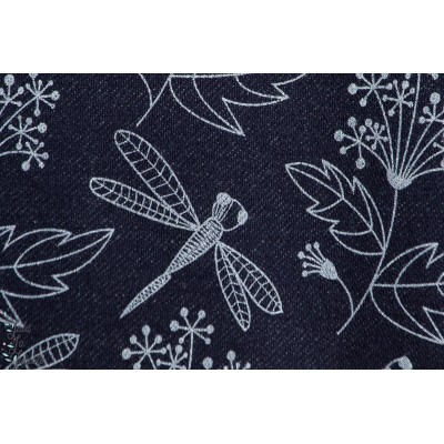 Summerjeans Inked Flowers , fleur et libellule, design: Pamela Hiltl/enemenemeins pour lillestoff