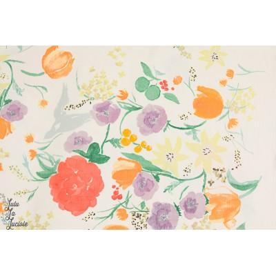 Popeline Satinée FUCCRA RAKUEN BIBI Nani Iro fleur japon kokka